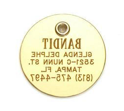 Double Sided Polished Brass Pet ID Tag Medium Custom Engrave