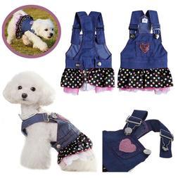 New Casual Canine Dog Denim Jean Dress Clothes Pet Puppy Ski
