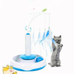 electric pet rotating multifuncition funny feather cat