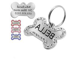 Engraved Pet Dog Tags Bling Rhinestone Cat ID Name Collar Ta