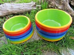 Fair Trade Hand Made Ceramic Rainbow Cat Dog Pet Food Water