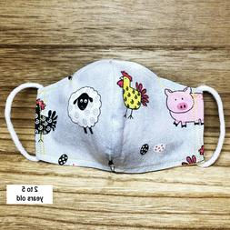 FARM PETS Toddler Kid Child Face Mask Cloth Fabric 100% Cott