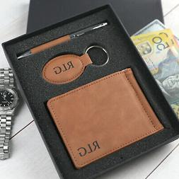 Fathers Day Personalised Engraved Tan Leather ette Wallet Ke