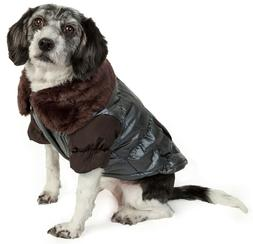 Pet Life Faux Fur Collared Pet Dog and Cat Jacket Parka Appa