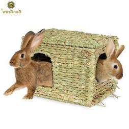 SunGrow Folding Woven Grass House:Chew Toy for Rabbits,Bunni