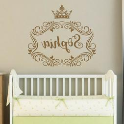 Frame Personalized Girl Name Wall Decal Princess Crown Girls