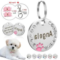 Personalized Dog Tags Paw Rhinestone Pet Cat ID Name Tag Eng