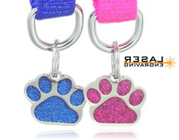 glitter paw print pet id tags custom