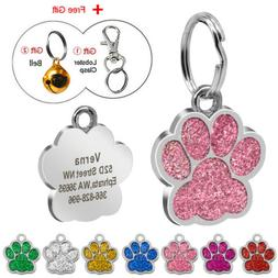 Glitter Paw Print Pet ID Tags Custom Engraved Dog Cat Person