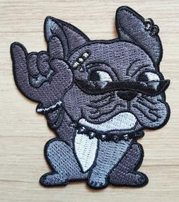 Gray Bulldog Rock N Roll Puppy pet Patches for Bags Jacket T