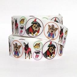 """Grosgrain Ribbon 7/8""""  Puppy Dogs Pets Puppies PD1 Printed"""