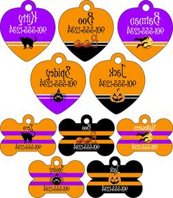 Halloween Themed Pet Id Tags for Dogs & Cats Personalized w/