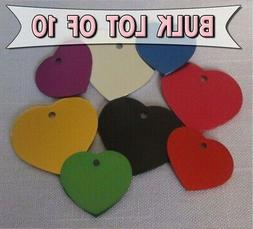 HEART ID TAGS BULK RESCUE - ENGRAVED LOT OF 10 Pet/Dog/Cat I