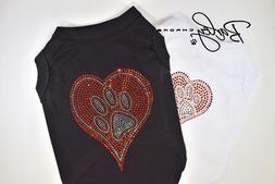 Heart with Paw Rhinestone Dog Pet Shirt T-Shirt Tank Top