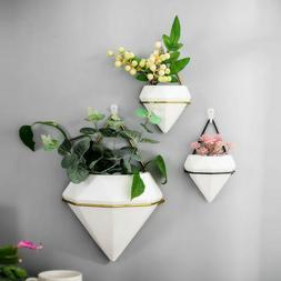 Home Wall Hanging Plant Flower Pots Ceramic Planter Metal St