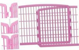 IRIS 24'' Exercise 4-Panel Pet Playpen Without Door Pink 2 P
