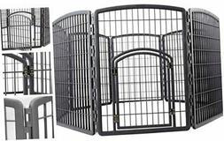 IRIS 34'' Exercise 8-Panel Pet Playpen Dark gray With Door