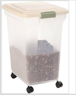 IRIS USA Almond and Clear Airtight Pet Food Storage Containe