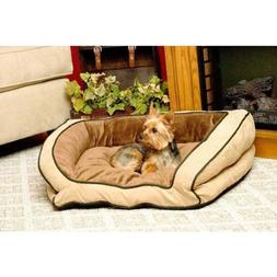 "KandH Bolster Couch Pet Bed size: 30""L x 21""W, Brown"