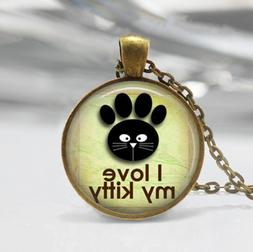 """KITTY CAT PAW PET ANIMAL crystal pendant 20"""" necklace female"""