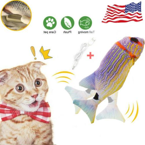 1x cat plush toy electric wagging fish