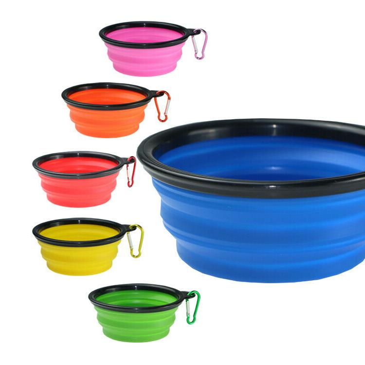 2 Portable Pet/Dog Food/Water Bowls cup food 12 oz water