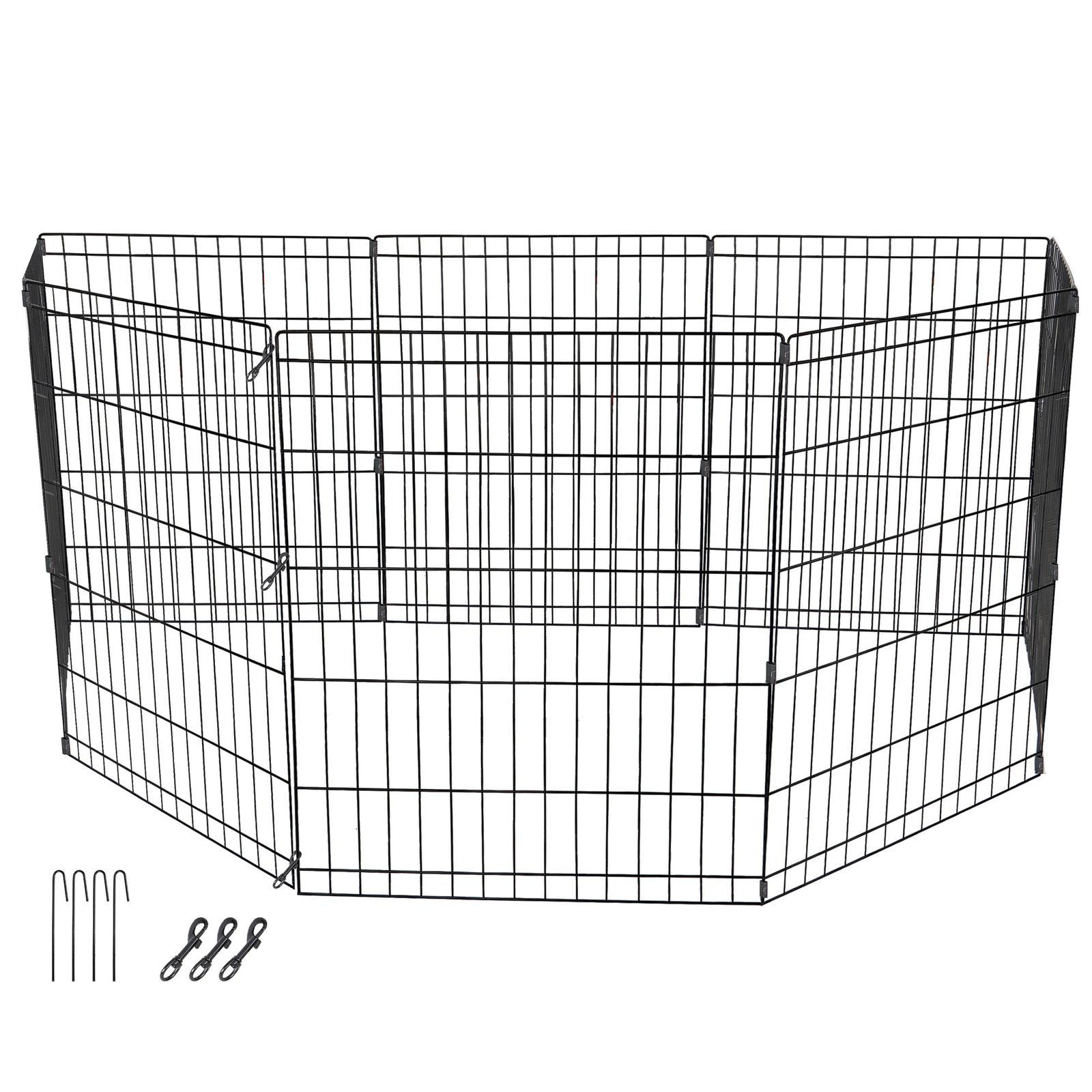"""24"""" Dog Playpen Crate 8 Panel Play Exercise Puppy Kennel Cage"""