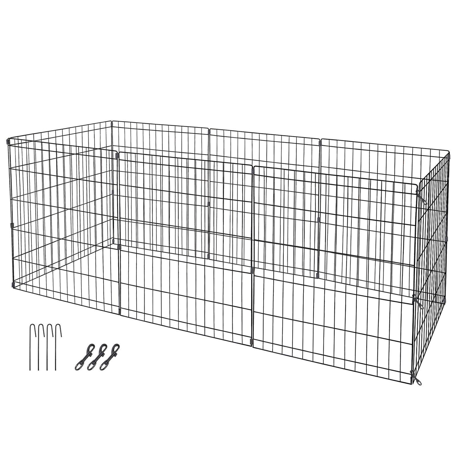 """24"""" Dog Crate 8 Fence Play Pen Exercise Kennel"""
