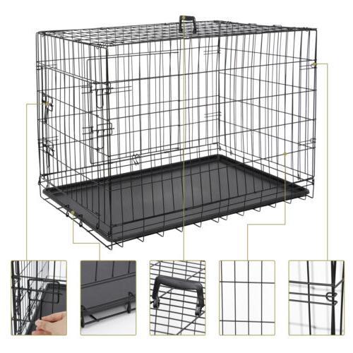 """36"""" Dog Folding Metal Pet Cage 2 Pan Black"""