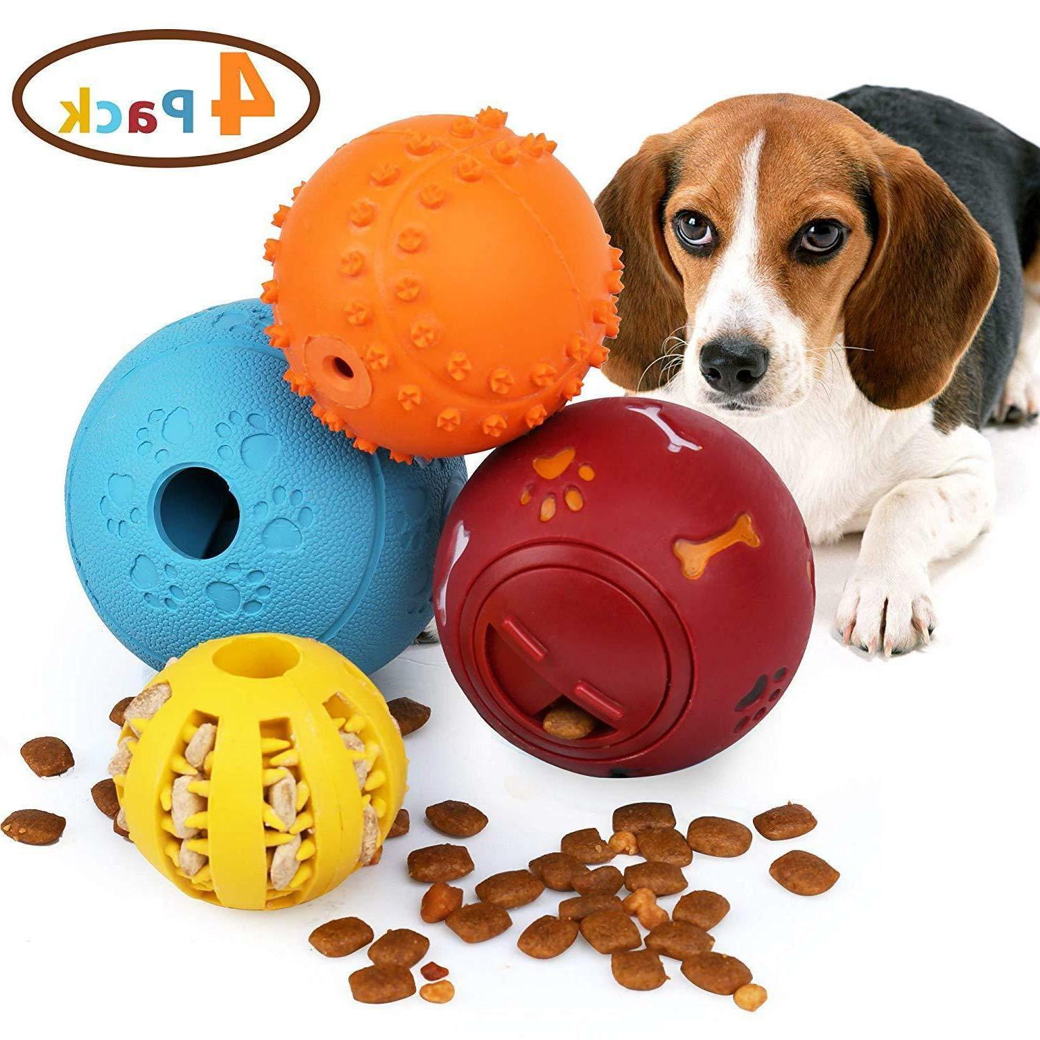 4pcs pet dog interactive tumbler food dispenser