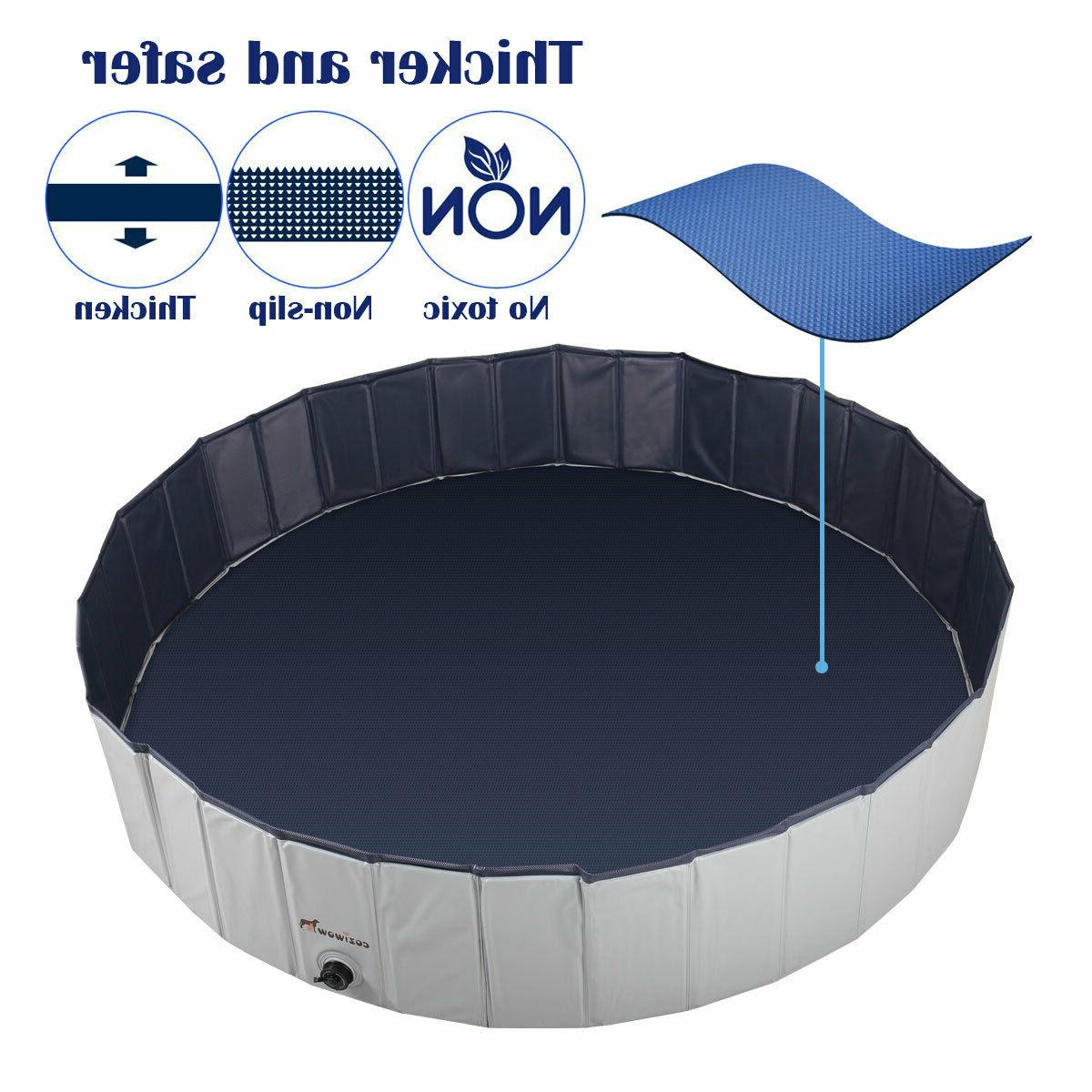 """63"""" Outdoor Pet Dog Pool PVC Foldable Swimming Pool Collapsible Bathing"""