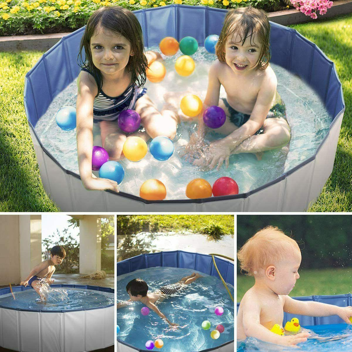 """63"""" Outdoor Pet Pool Kids Swimming Collapsible Tub"""