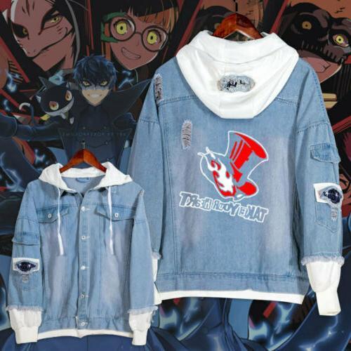 anime persona5 long sleeve unisex denim jacket