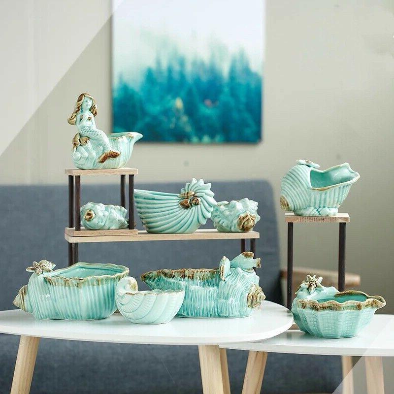 aqua blue conch seashell succulent plant pot