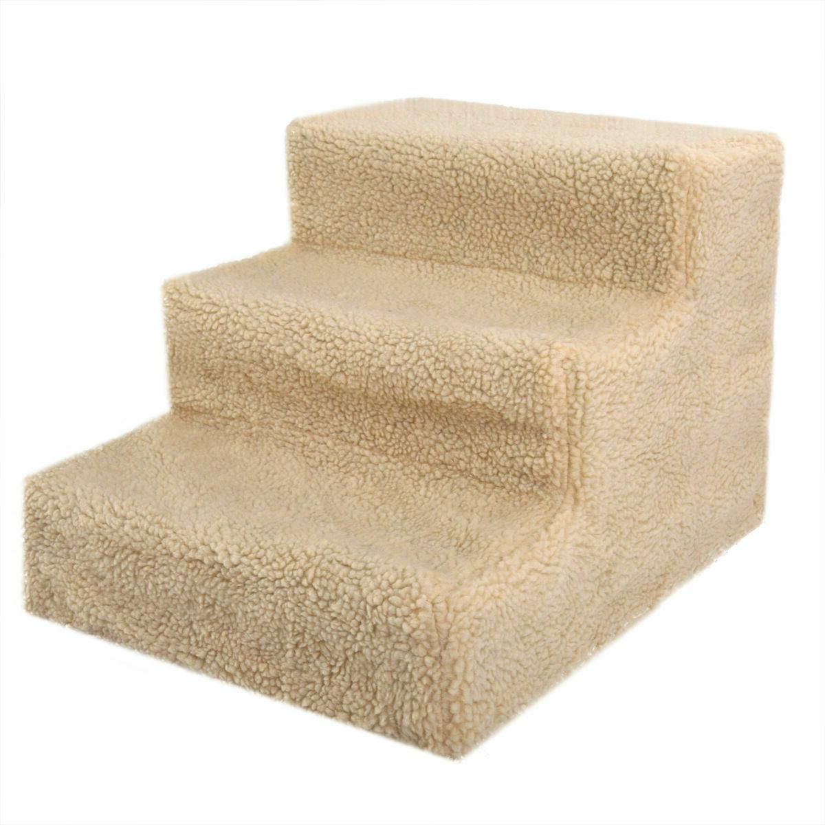 Beige Steps Indoor Ramp Portable Dog with Washable