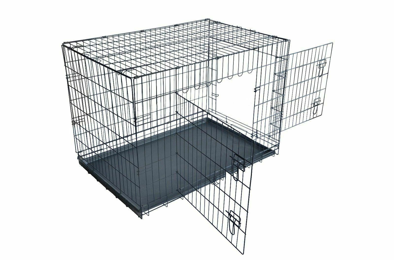 "Dog Cage Kennel w/Tray Black 48"" Door Pet Cage"