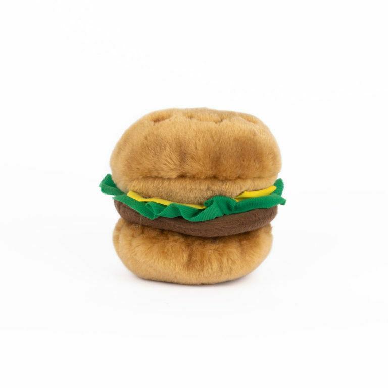 burger nomnomz dog toy soft plush squeaker