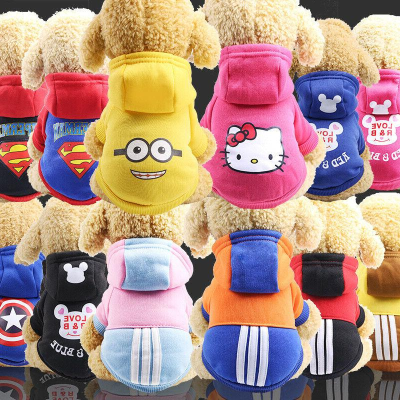 cartoon small dog clothes pet puppy hoodied