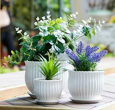 ceramic flower plant pots with saucers modern
