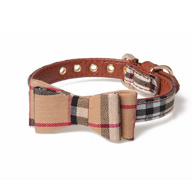 check plaid dog cat collar bowknot bowtie