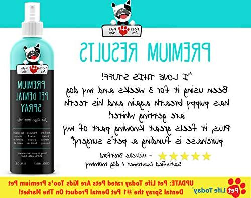 Premium Pet Dental Spray : Best Eliminate Dog & Bad Breath! Naturally & Gum Disease Without Brushing! Spray Mouth or Add to