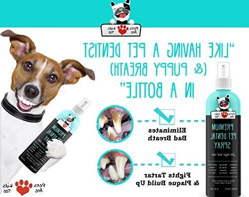 Premium Dental Spray Eliminate Dog & Naturally & Disease Without Brushing! Spray In or Add