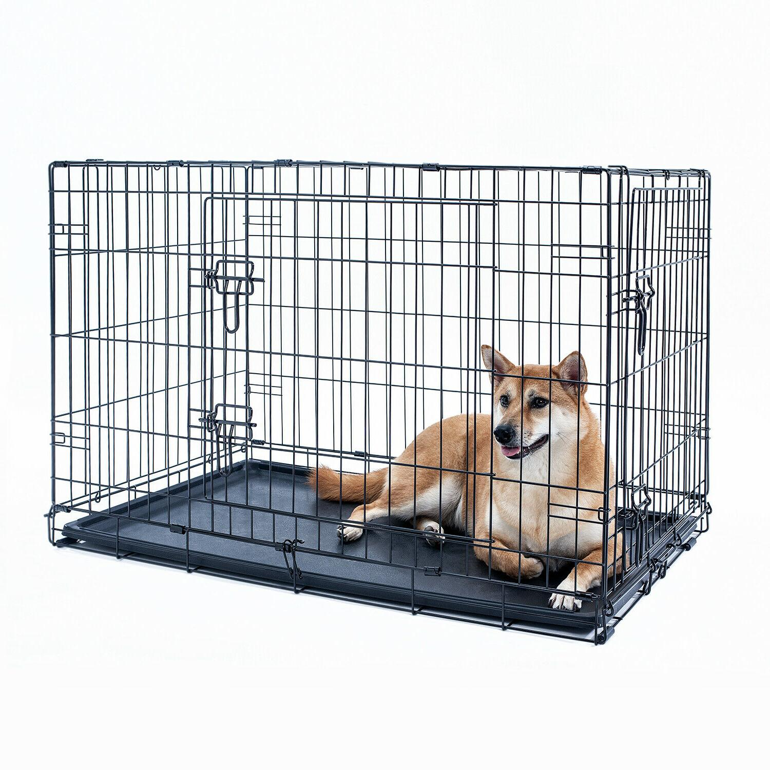 Dog Crate Folding Pet With Black