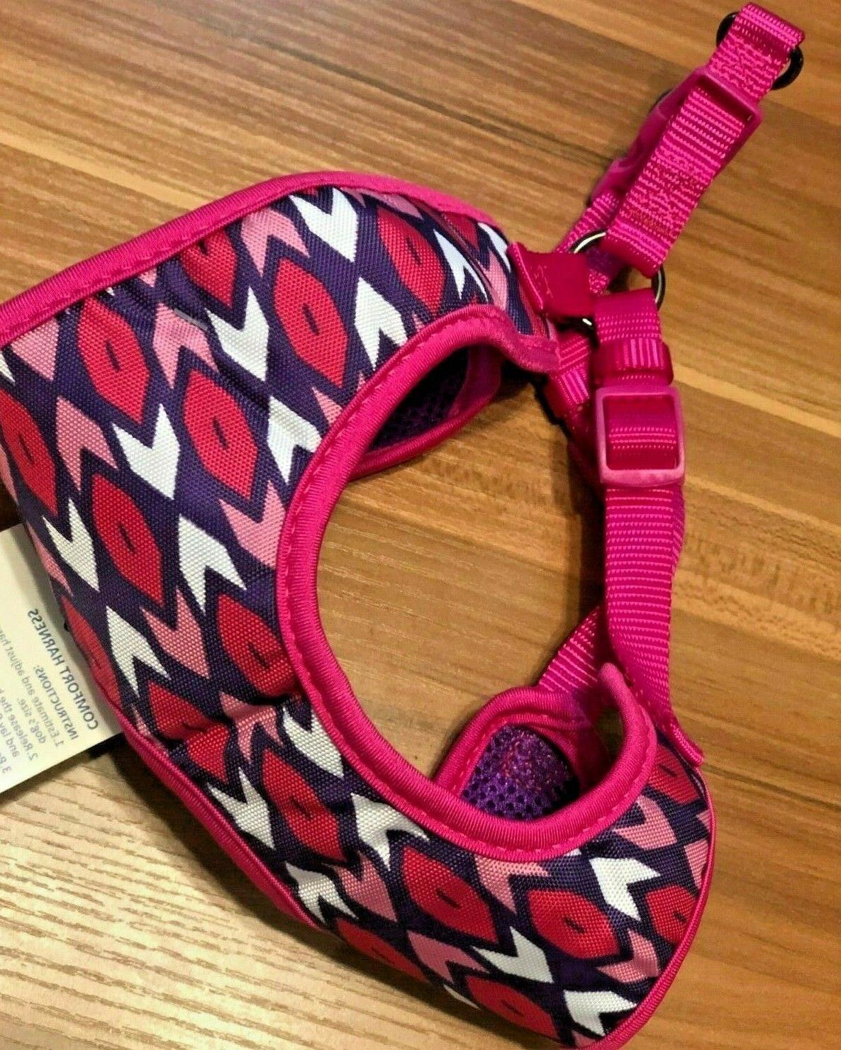 dog harness adjustable pink white comfort large