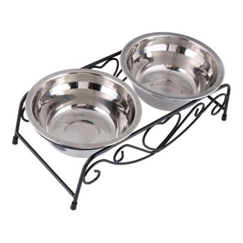 Double Bowl Cat Feeder Elevated Stand Feeding Dish US