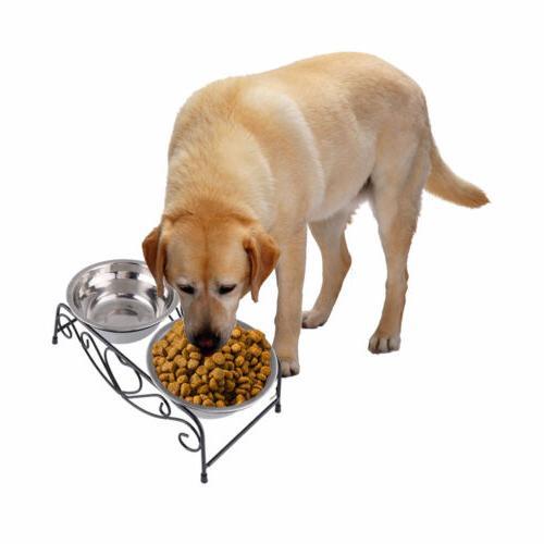 Double Bowl Dog Cat Feeder Raised Feeding Dish US