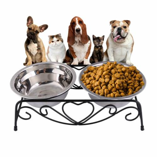 Double Feeder Elevated Stand Feeding Dish