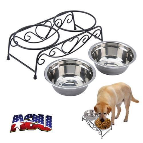 double bowl dog cat feeder elevated raised
