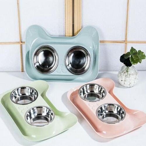 Double Pet Bowls Dish Cat Water US