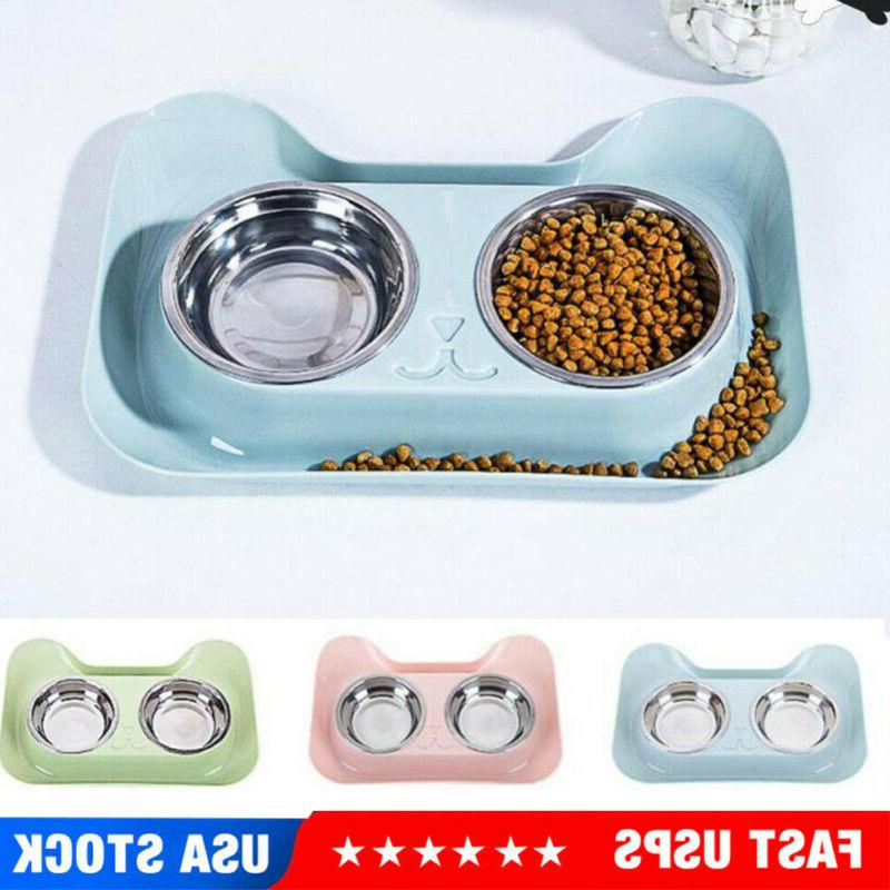 double dog cat pet bowls dish stainless